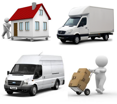 removals van and house image